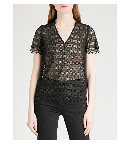 SANDRO Geometric-lace sheer top (Black