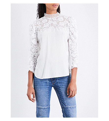 SANDRO Lace-panel silk top (White