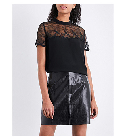 SANDRO Lace-panel silk top (Black