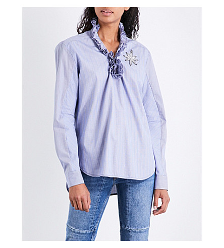 SANDRO Frilled-collar cotton top (Blue