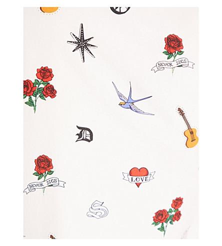 SANDRO Tattoo-print silk top (Multi+color