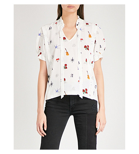 SANDRO Tattoo-print silk top (Multi-color