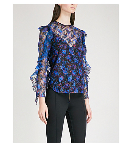 SANDRO Paisley-print floral-lace top (Multi-color