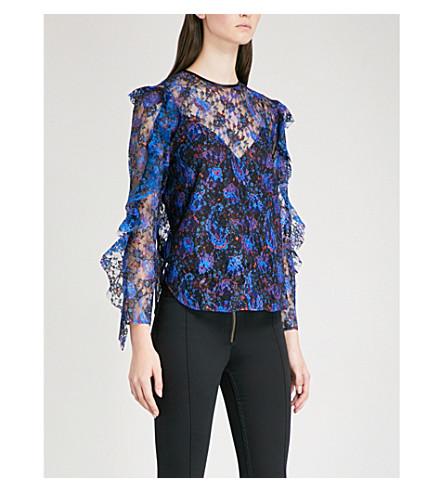 SANDRO Paisley-print floral-lace top (Multi-color