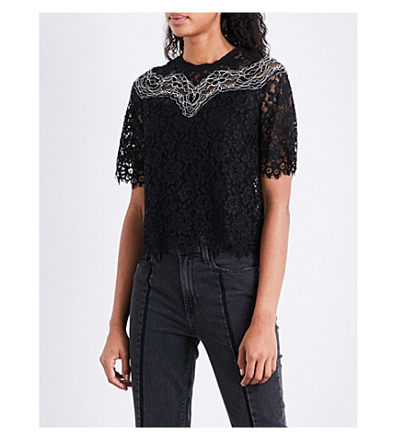 SANDRO Eyelash-trim lace top (Black