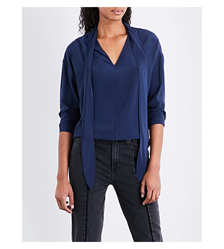 SANDRO Self-tie silk top (Cobalt