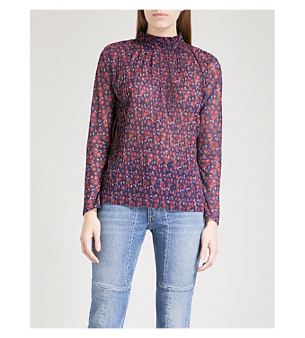 SANDRO High neck floral-print plissé top (Multi-color
