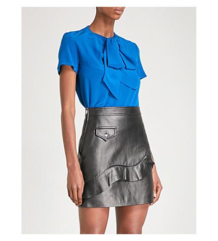 SANDRO Tie-front silk top (Azur+blue