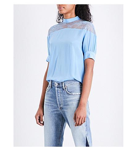 SANDRO Lace-panel silk top (Sky+blue