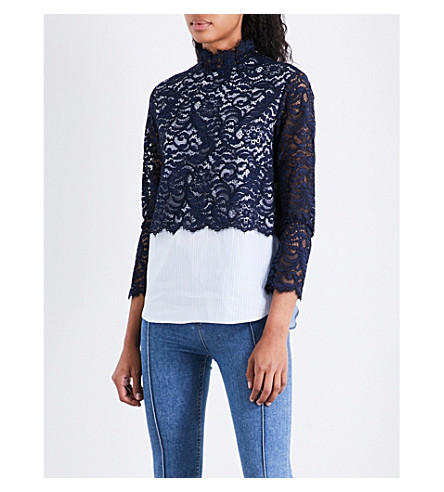 SANDRO Lace-panel cotton top (Navy+blue