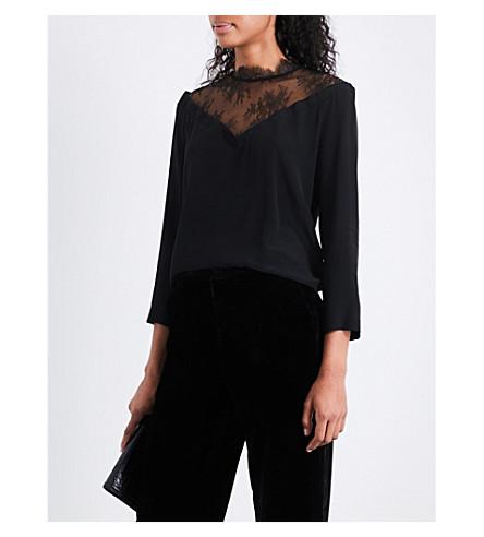 SANDRO Lace-panel silk top (Black