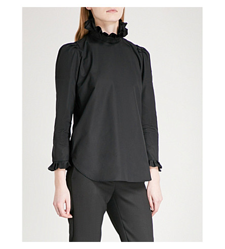 SANDRO Ruffled cotton-poplin blouse (Black