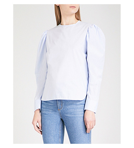 SANDRO Puff-sleeve cotton-poplin blouse (Sky+blue
