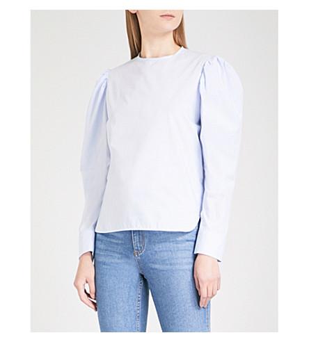 SANDRO Puff-sleeve cotton-poplin blouse (Sky+blue