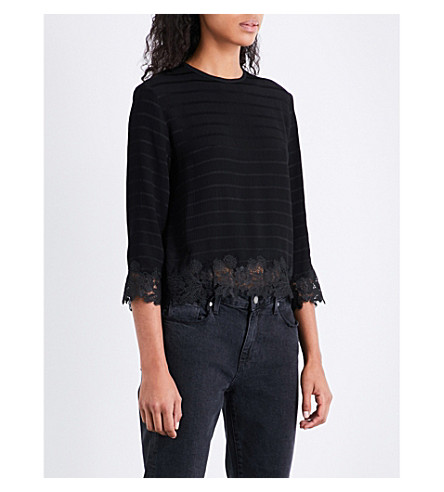 SANDRO Lace-hem striped crepe top (Black