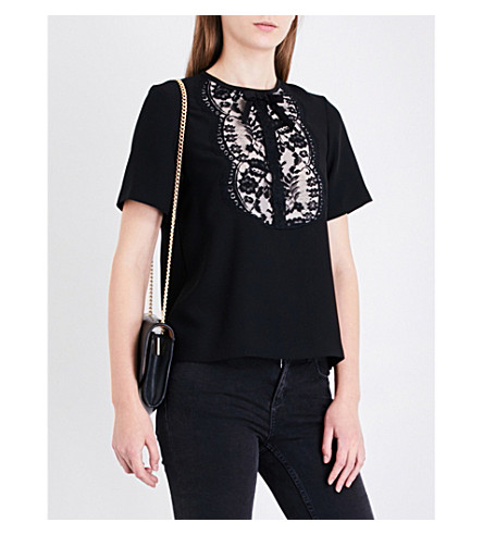 SANDRO Floral lace-panel crepe top (Black