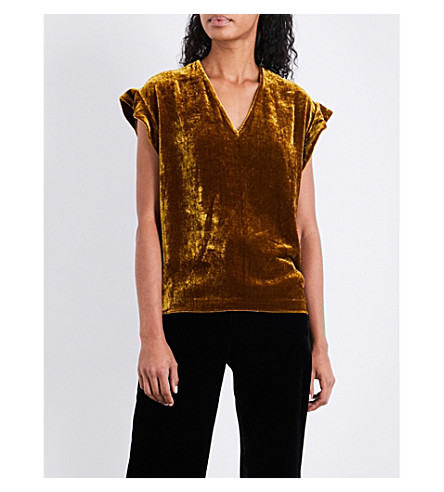 SANDRO V-neck velvet top (Ochre