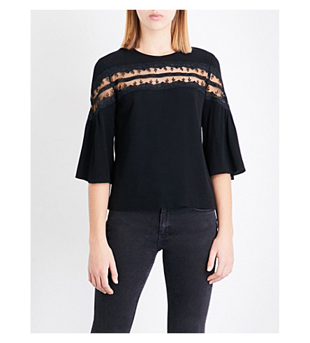 SANDRO Lace-panel crepe top (Black