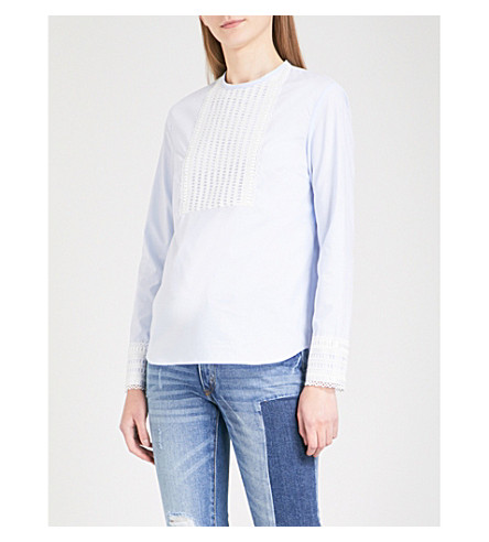 SANDRO Embroidered lace and cotton-poplin blouse (Sky+blue