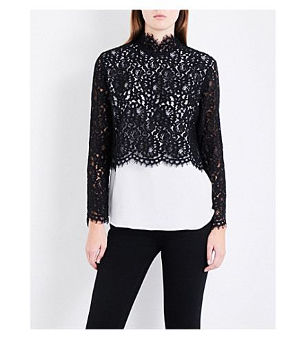 SANDRO Floral-lace overlay top (Black