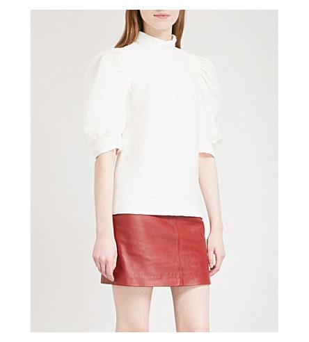 SANDRO Puff-sleeve pleated woven top (Ecru