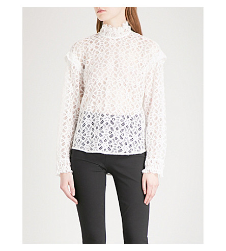 SANDRO Ruffled floral-lace blouse (Ecru