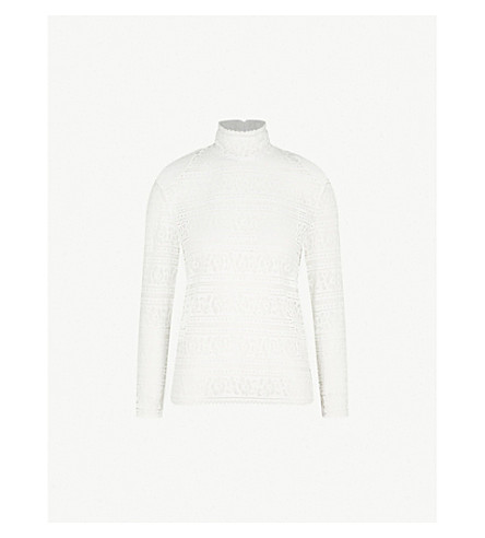 SANDRO High-neck floral lace top (Blanc