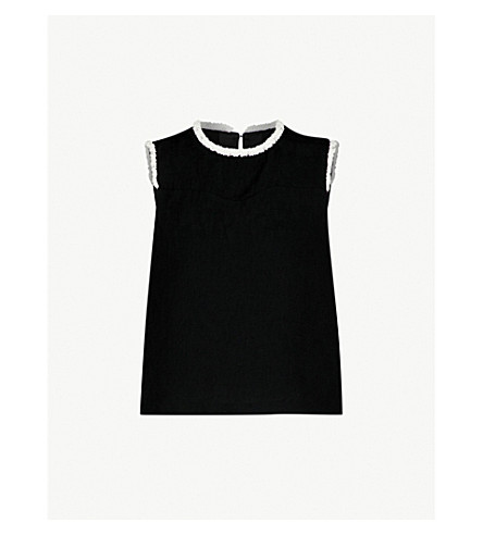 SANDRO Bead-embellished sleeveless crepe top (Black