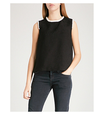 SANDRO Bead-embellished sleeveless crepe top (Black