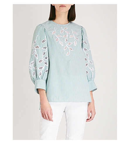 SANDRO Enbroidered puffed sleeve shirt (Green