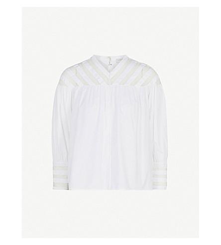 SANDRO Lace-insert cotton top (Blanc