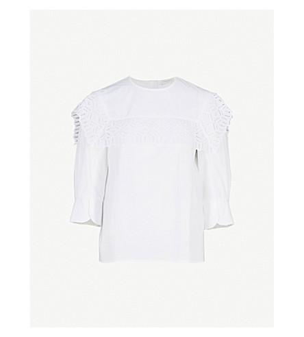 SANDRO Guipure lace-trim cotton top (Blanc