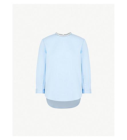 SANDRO Beaded-neck cotton blouse (Bleu+ciel