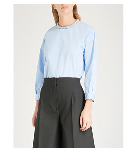 SANDRO Beaded-neck cotton blouse (Bleu+ciel