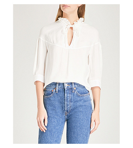 SANDRO Drawstring-neck woven blouse (Ecru