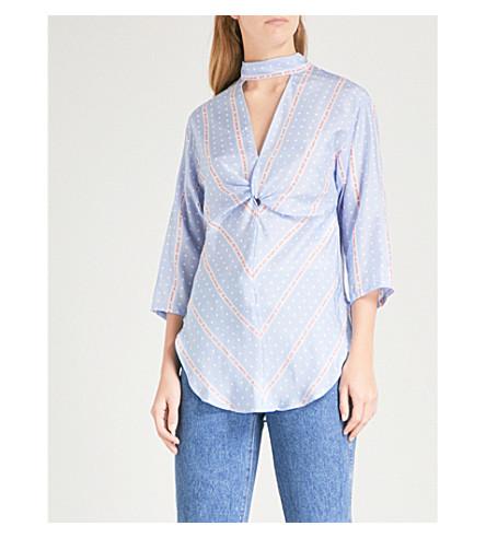 SANDRO Printed polka-dot pattern silk blouse (Bleu+ciel