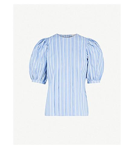 SANDRO Puff-ball sleeves cotton blouse (Bleu+ciel