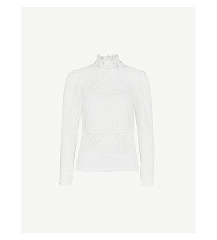 SANDRO Scalloped-trim lace top (Ecru