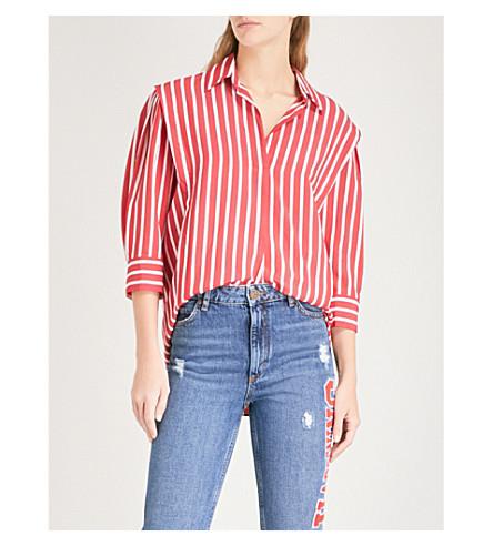 SANDRO Striped woven shirt (Rouge+cerise