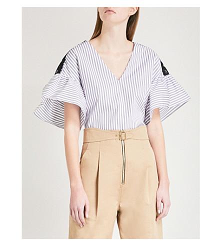 SANDRO Flared-sleeve striped cotton top (Blanc