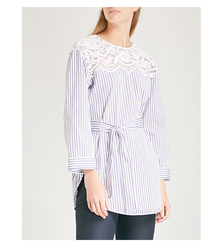 SANDRO Lace-detail striped cotton blouse (Blanc