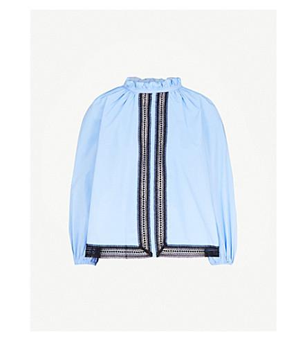 SANDRO Ruffled cotton top (Bleu+ciel