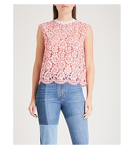 SANDRO Scalloped-trim lace top (Rose