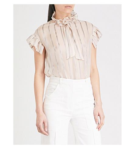 SANDRO Striped metallic-silk top (Blush