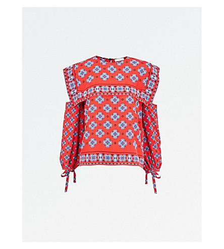 SANDRO Open shoulder bib neck silk top (Rougecarlate