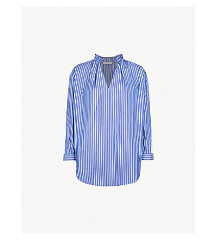SANDRO Lace-panel striped cotton shirt (Bleu
