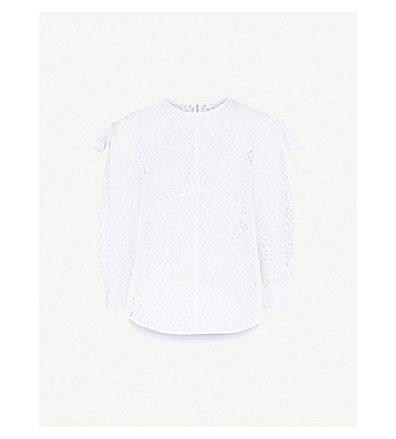 SANDRO Cold-shoulder broderie anglaise cotton top (Blanc