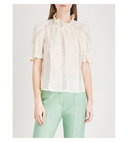 SANDRO Lace-embroidered ruffled cotton-blend top (Ecru