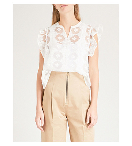 SANDRO Floral-embroidered tulle and silk top (Blanc