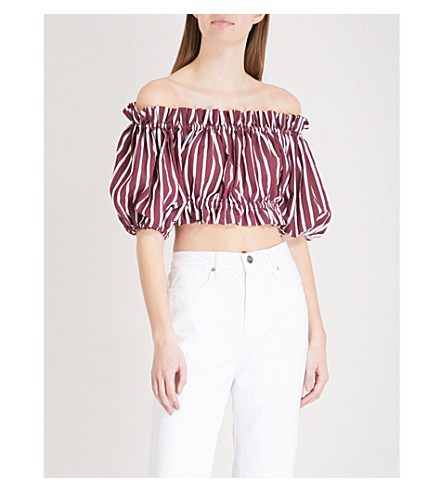 SANDRO Puffed sleeve ribbed top (Bordeaux